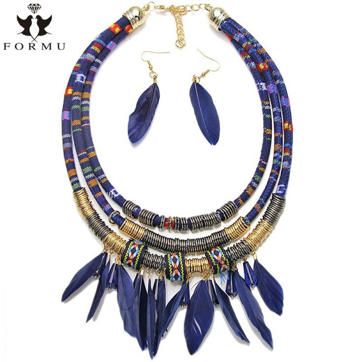 Bohemian Women Feather Necklace Set With Earrings Exo Cloth Pipes Chain With Metal Spring Exaggerated Statement Necklace NK1250