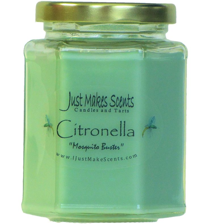 citronella mosquito repellant scented blended soy candle for indoor use by just makes scents details can be found by clicking on the image