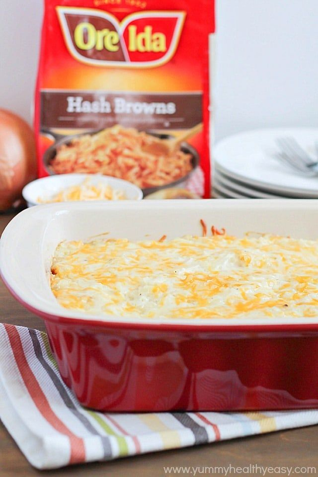 Potato Casserole made easy by using Ore-Ida Shredded Potato Hash Browns. Creamy, delicious and the perfect addition to your Easter Brunch menu!