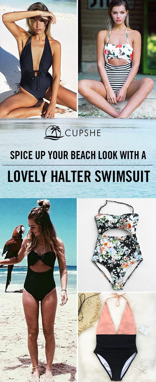 acd572d302fcd Spice up your beach look with a lovely halter swimsuit. Halter design makes  you sexier, and the high leg cut can better show your charming figure.