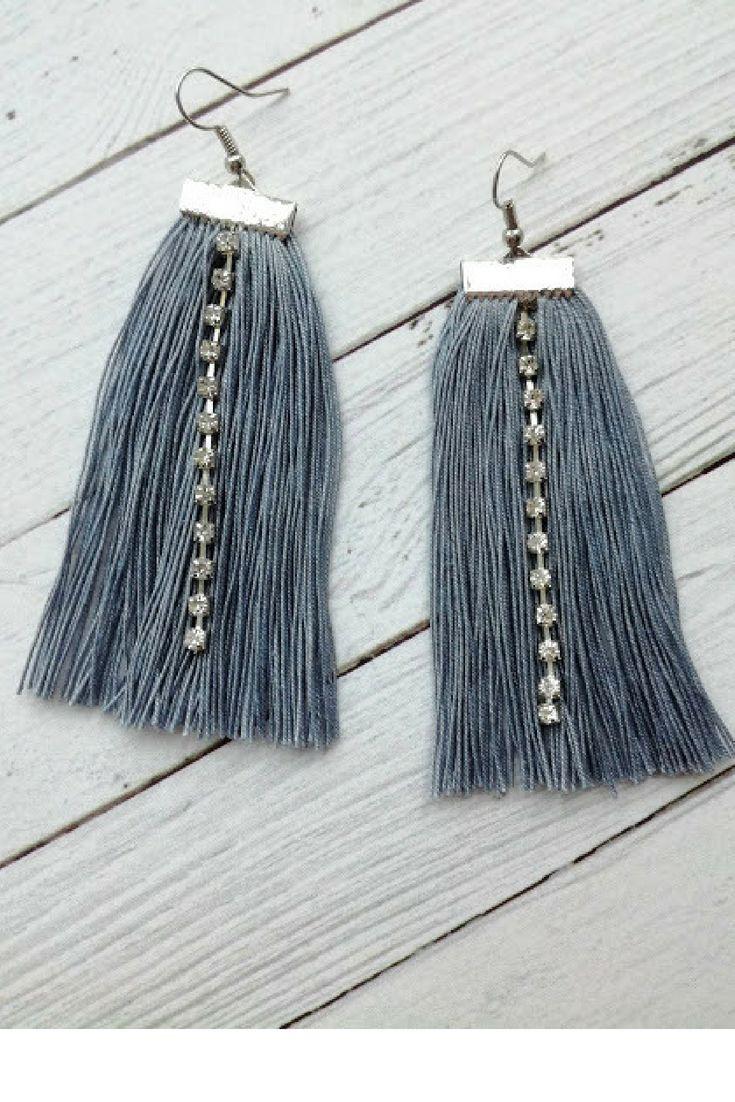Gray tassels earrings with rhinestones Fringe cotton Statement earring Macrame earrings Boho Fluffy thread Bohemian style Gypsy earring Drop