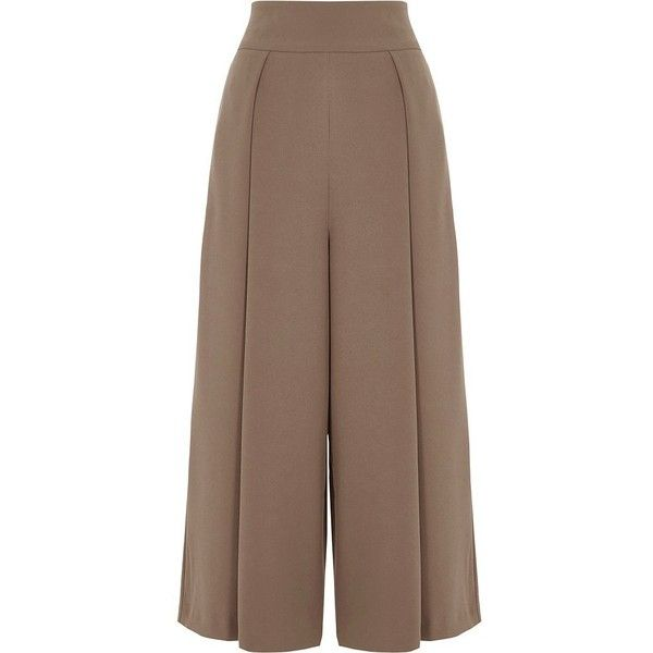 River Island Grey front pleat high waisted culottes ($40) ❤ liked on Polyvore featuring pants, capris, grey, trousers, sale, women, cropped trousers, tall pants, high waisted wide leg trousers and high-waist trousers