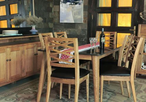 Brondby, dining table, 200 cm oak top, oak dining set, oak dining table, oak dining chair, granite dining set, granite dining table