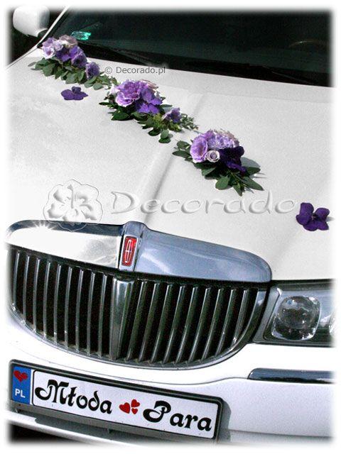 """Dekoracja samochodu """"Ślubny fiolet"""""""