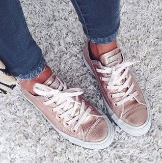 shoes converse rose gold