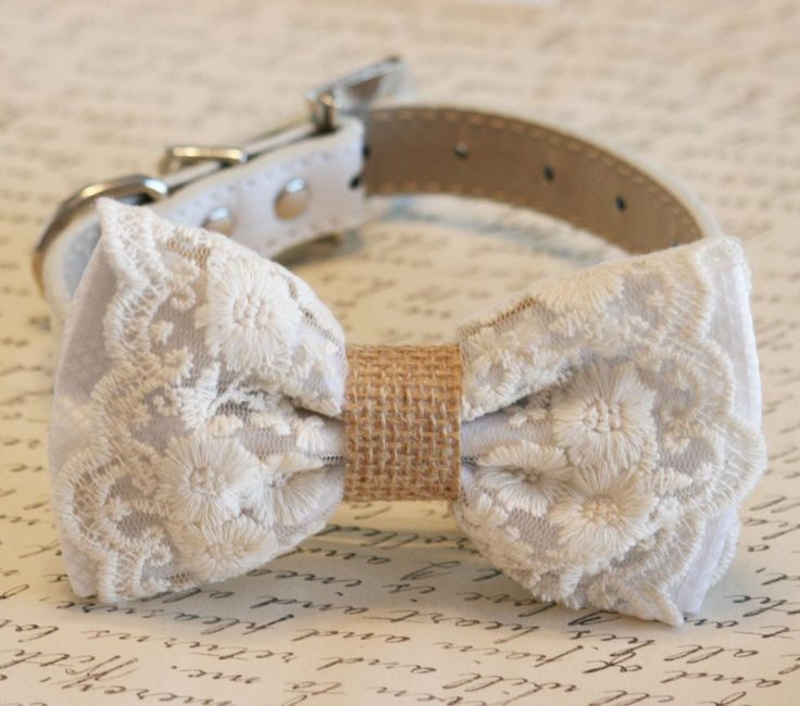 White Canine Bow Tie, Lace and Burlap, Rustic, Nation wedding ceremony, boho, Canine Lovers,Pe…