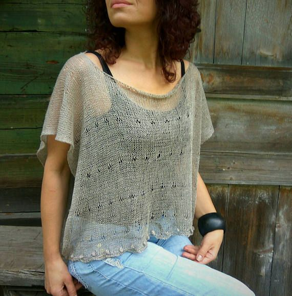 Taupe Linen Poncho Translucent Top Handknitted Poncho