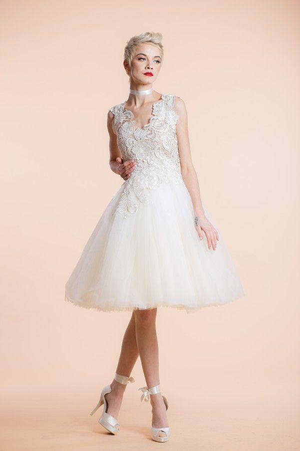 Vanilla Tulle Ivory Embroidered Wedding / Reception Dress