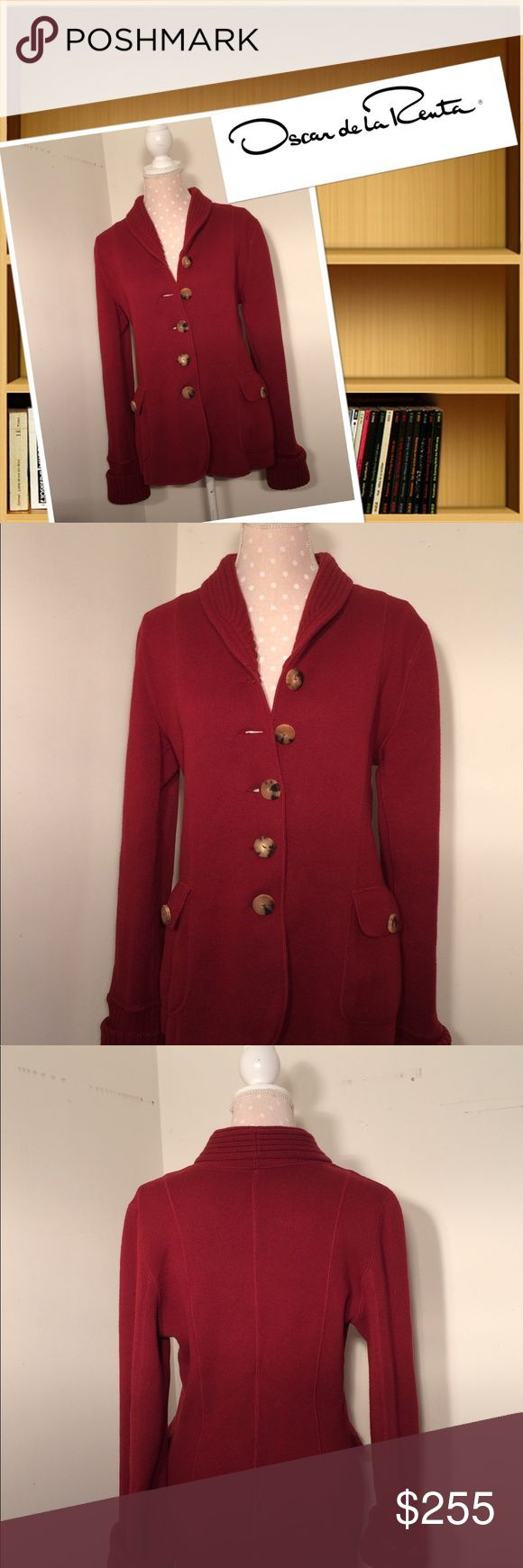 """Oscar De La Renta Cashmere blend cardigan Very good condition  Wine/burgundy  52% wool 29% Cashmere  15% silk 4% elite Made in Italy  24"""" long 33"""" sleeves ( uncuffed) 37"""" bust ( buttoned) 5 center button enclosure  Nonsmoker seller  20% off 3 or more items Oscar de la Renta Tops Tunics"""