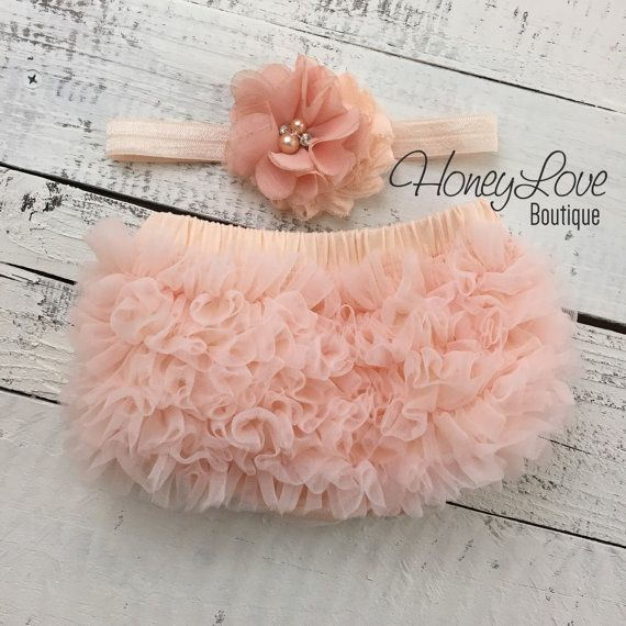 Peach ruffle bottom bloomers diaper cover, flower rhinestone pearl headband hair bow, newborn infant toddler baby girl take home hospital photo prop by HoneyLoveBoutique