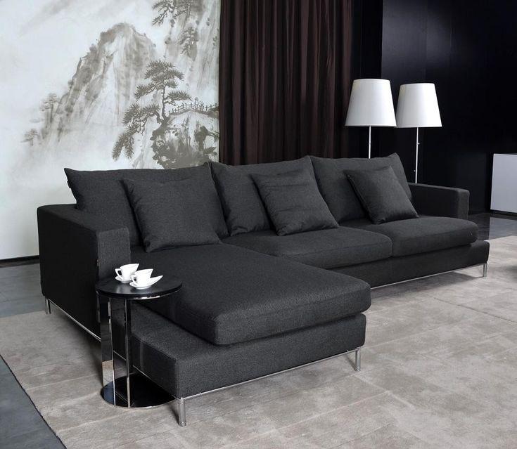 Black Fabric Sectional Sofa