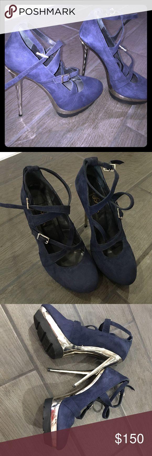 dora by mi piaci  blue swede heels dora by mi piaci  blue swede heels with silver platform dora by mi piaci Shoes Platforms