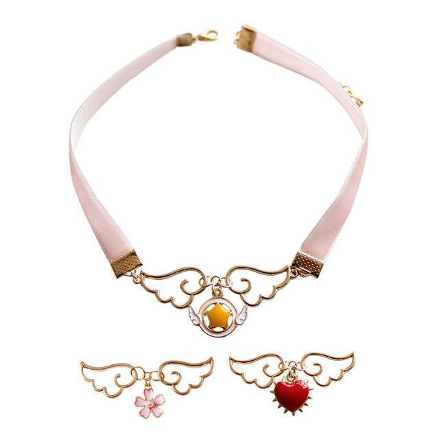 One Piece Fashion Jewelry Accessories Cospaly Pendant Neckchain Metal Enamel Angel Wing Star Heart Card Captor Sakura necklace