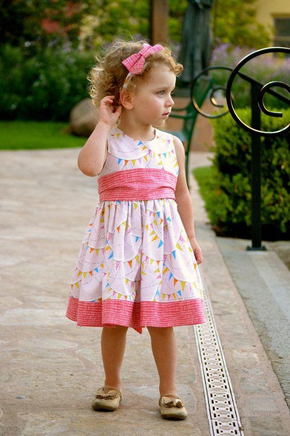 First Birthday Girl // First Birthday Dress // Made to order // party dress // party banner dress // Birthday Dress Pink