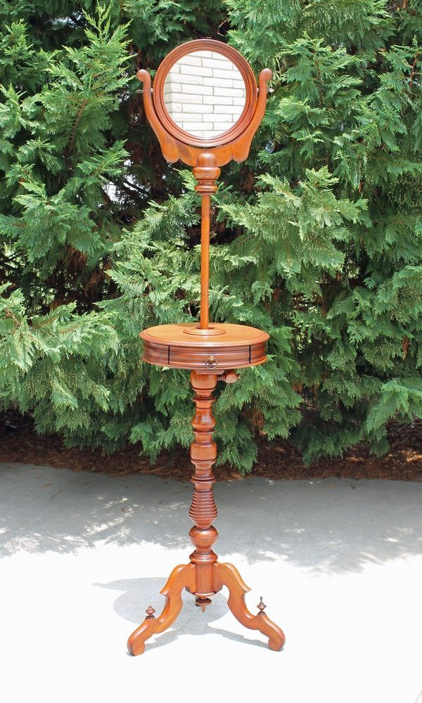19th C Solid Walnut Victorian Shaving Stand With Telescoping Mirror Drawer