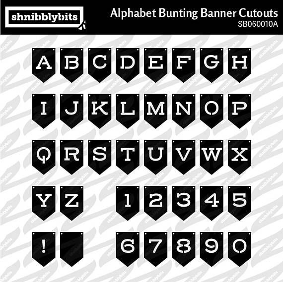 Alphabet Bunting Banner Cutouts  SVG DXF PNG Digital