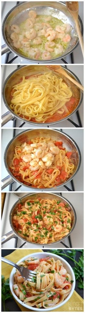 Spicy Shrimp Tomato Pasta-- 1/2 lb cleaned shrimp, 8 oz fettuccini, diced tomatoes can, red pepper flakes