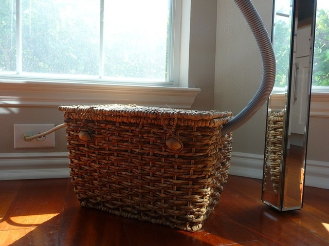 Concealing office wires - basket and plastic tubing