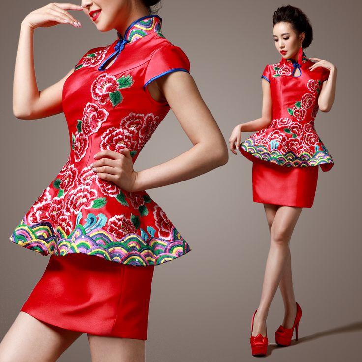 Shop quality silk cheongsam dress modernize Qipao from www.ModernQipao.com. Save 6% by share our products. Embroidered asymmetry floral mandarin collar cheongsam inspired short modern bridal dress