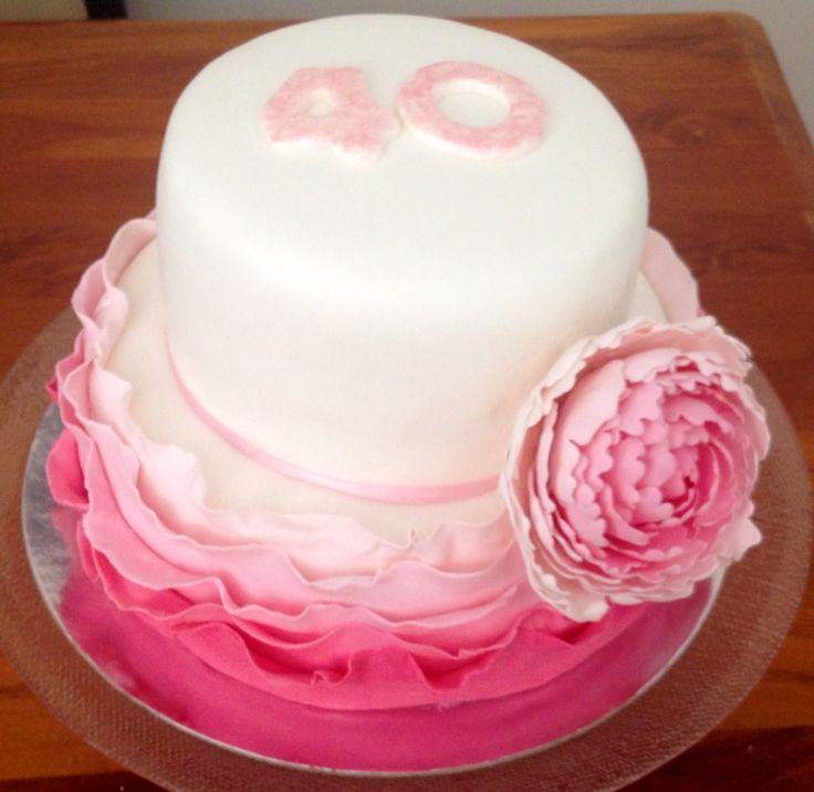 40th Birthday Ruffle and Peony Cake