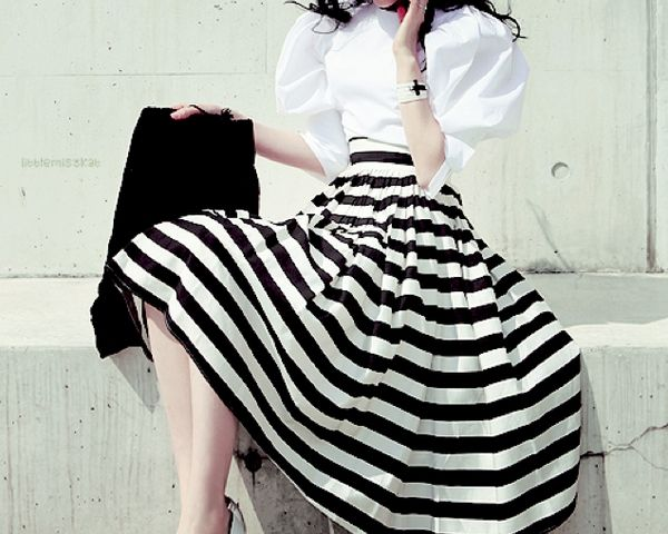 "Repin Via: The Effortless Chic ""What are you wearing to...""   ""Oh, just a black and white skirt and a white cotton blouse."""