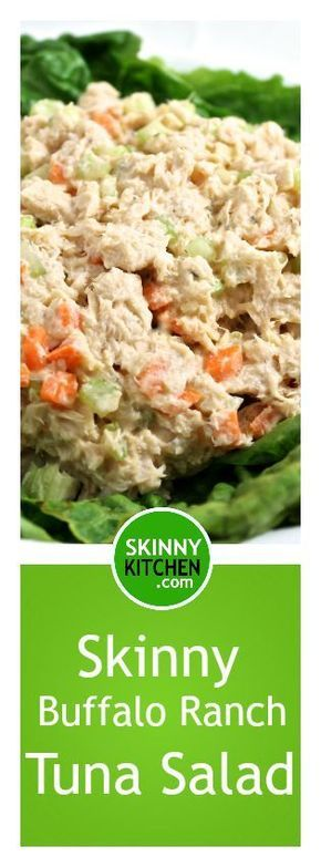 Skinny Buffalo Ranch Tuna Salad. Make your tuna salad come alive with this fantastic recipe! Each ½ cup has 78 calories, 2g fat & 2 Weight Watchers POINTS PLUS. http://www.skinnykitchen.com/recipes/skinny-buffalo-ranch-tuna-salad/