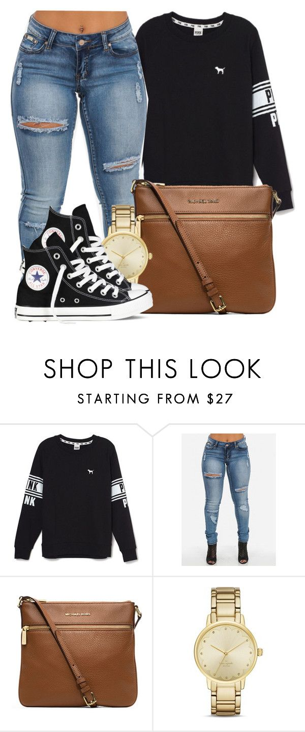 """Would you keep it Real if my heart Belonged to you?"" by bria-myell ❤ liked on Polyvore featuring Victoria's Secret, MICHAEL Michael Kors, Kate Spade and Converse"
