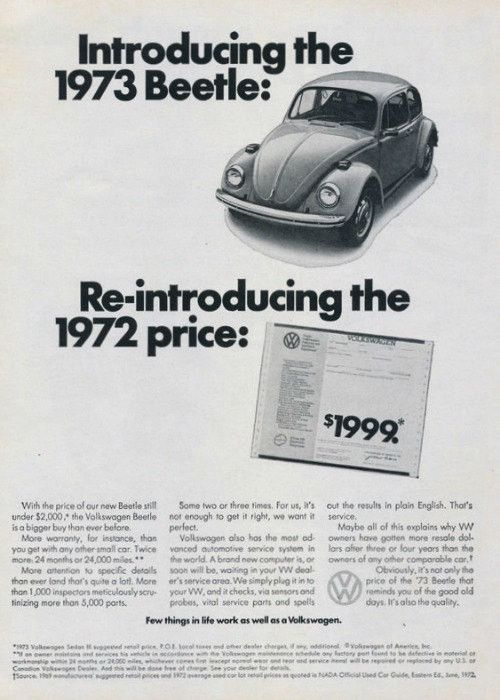 """An original 1973 Volkswagen advertisement. Featuring this Beetle Bug car priced the same as 1972. """"Introducing the new 1973 Beetle: Reintroducing the 1972 Price: $1,999."""" - 1973 Volkswagen Bug car pro"""