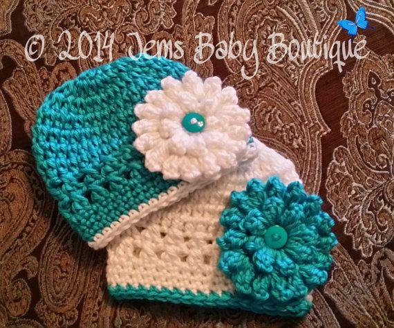 Pretty Aqua Newborn Twin hats w/ beautiful flower, Made to Order, photo prop set on Etsy, $27.00
