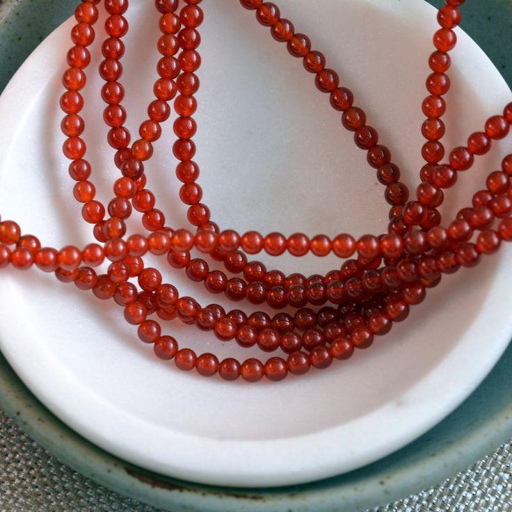 Small Round Carnelian Beads, 4mm Beads, Orange Carnelian, Round Carnelian Beads, Dark Orange Gemstone, Ethnic Beads, One Strand, MAN16-1005