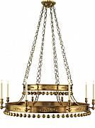 "Grand lustre en laiton antique / Large chandelier in hand-rubbed antique brass, 60""h x 50.75""w, Canopy: 8.25""dia, 8 x candelabra type C 60W"