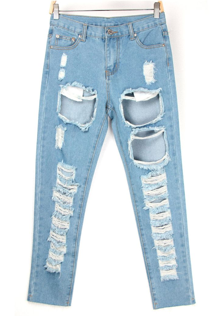 Bleached Ripped Blue Denim Pant-SheIn
