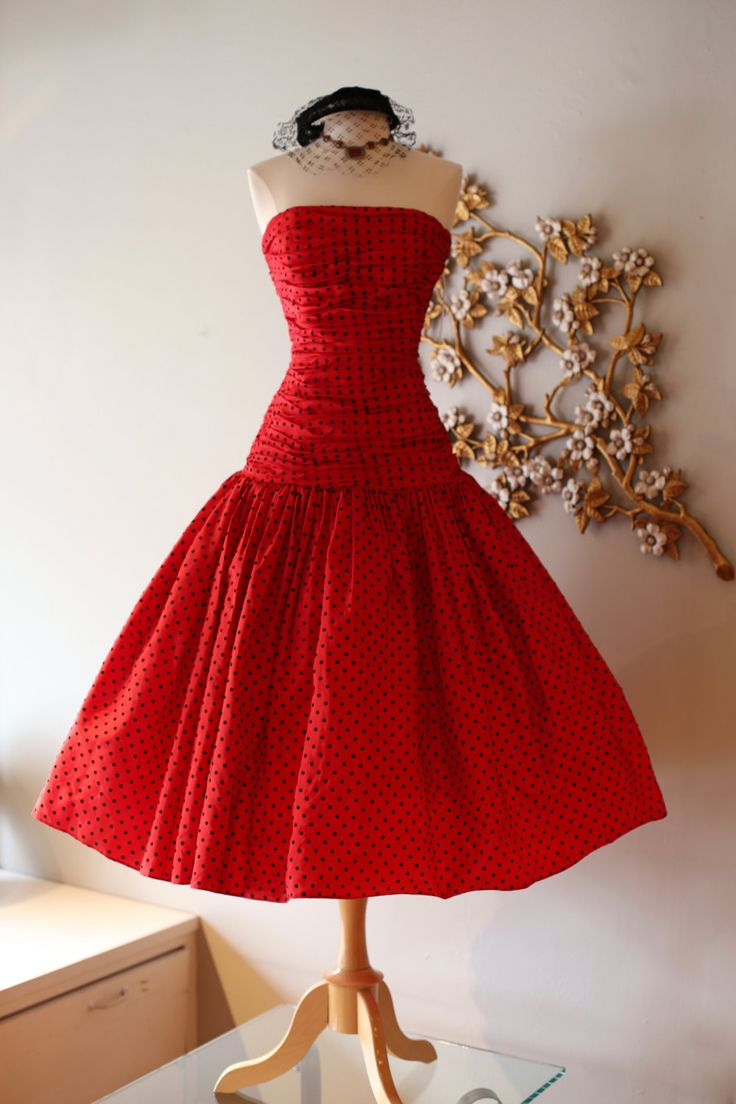 Fabulous 50s Style Red Prom Dress ~ Vintage 80s Victor Costa Red Polka Dot Party Dress by xtabayvintage on Etsy