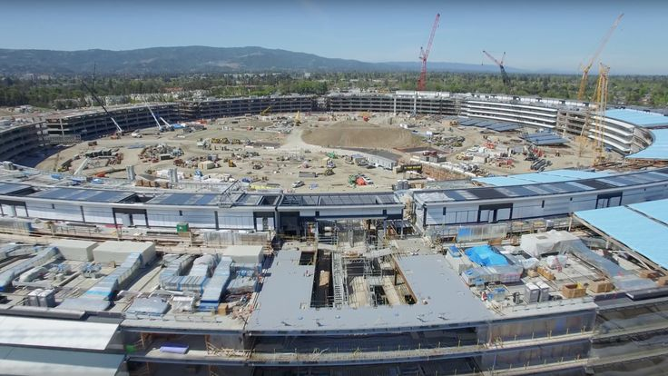 New drone video shows Apple's massive new spaceship campus is coming together