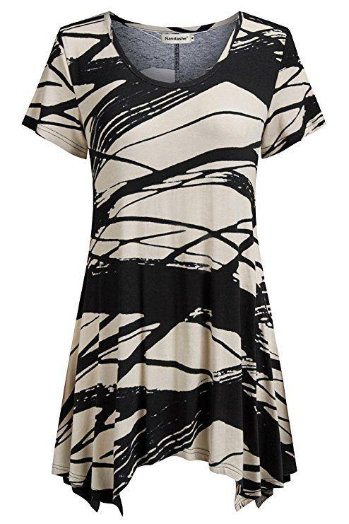 8e03e2ec59512b Nandashe High Low Tops for Women, Summer Juniors Casual Round Neck High Low  Stripe Printed Asymmetrical Hemline Loose Draped Ruffle Flared Tee Shirts  ...