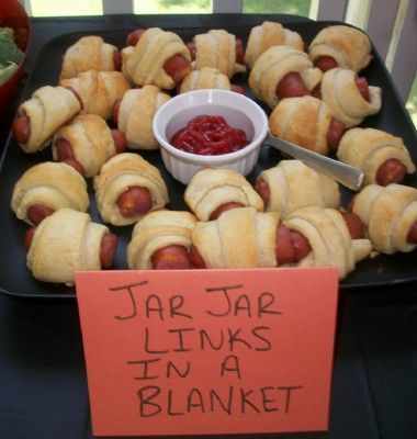 """We made Jar Jar Binks in a blanket. These are always a hit at kids parties and we thought the name was cute. We used turkey dogs and croissant rolls."""