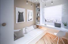 Kinderzimmer klein 9 qm Beige Weiß Kleiderschrank Wandbilder