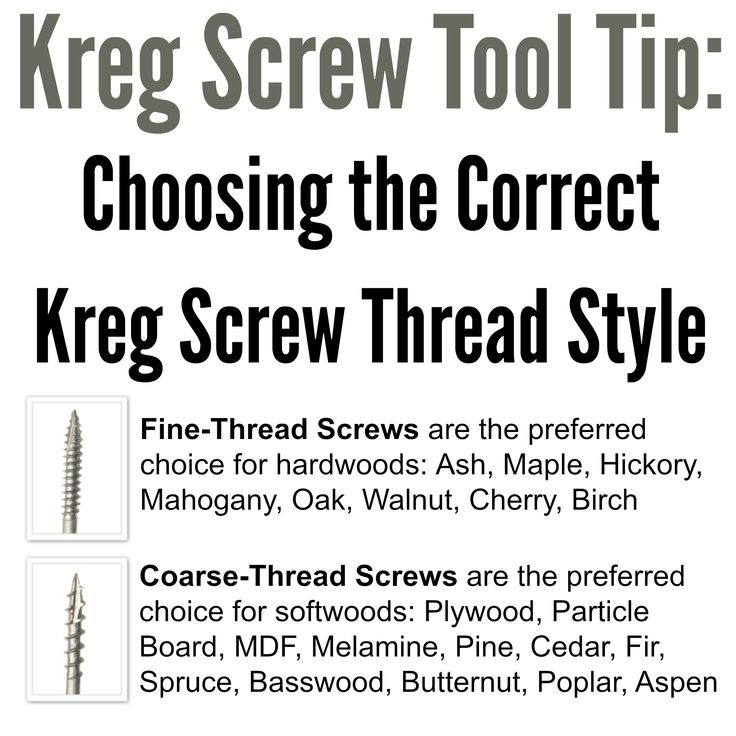 Kreg Tool Tip: Choosing the Correct Kreg Jig® Screw Thread Style. For best results when building with Kreg screws, it is important to choose the correct screw-thread style. Kreg offers screws with two different thread styles: fine-thread and coarse-thread. Here's a quick explanation of which style you should choose, based on the type of wood you are working with.