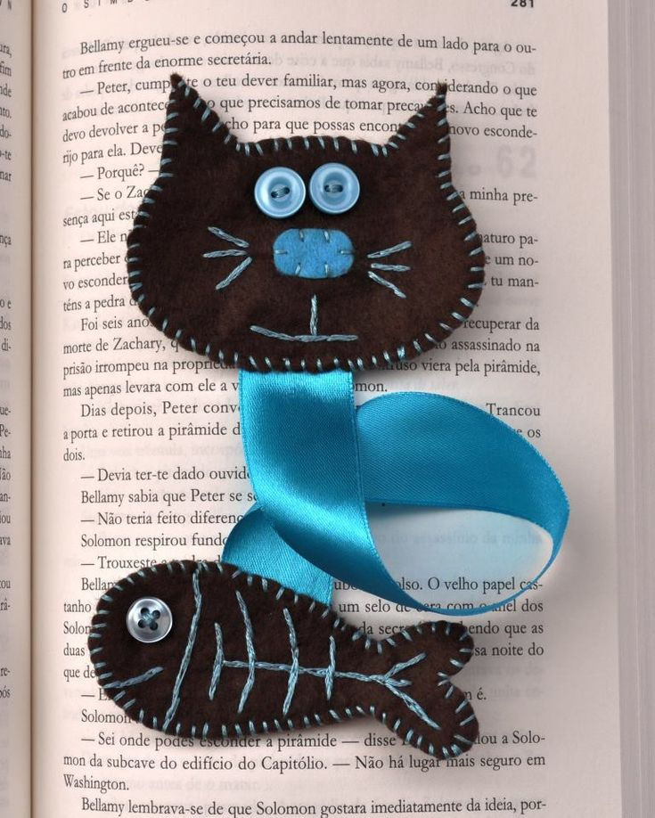 Cat Fish felt and ribbon bookmark