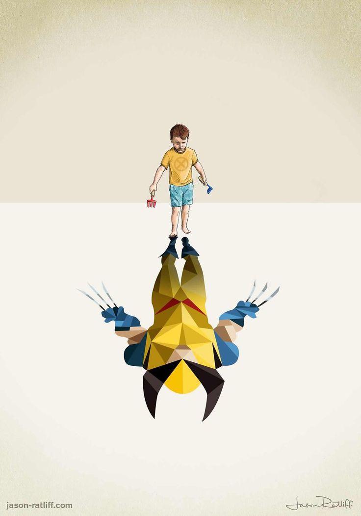 Des enfants avec des ombres super héro - http://www.dessein-de-dessin.com/des-enfants-avec-des-ombres-super-hero/