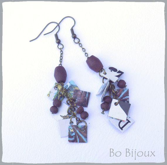 Boucles d'oreilles chaîne bronze breloques récup jeu de tarot dame de pique