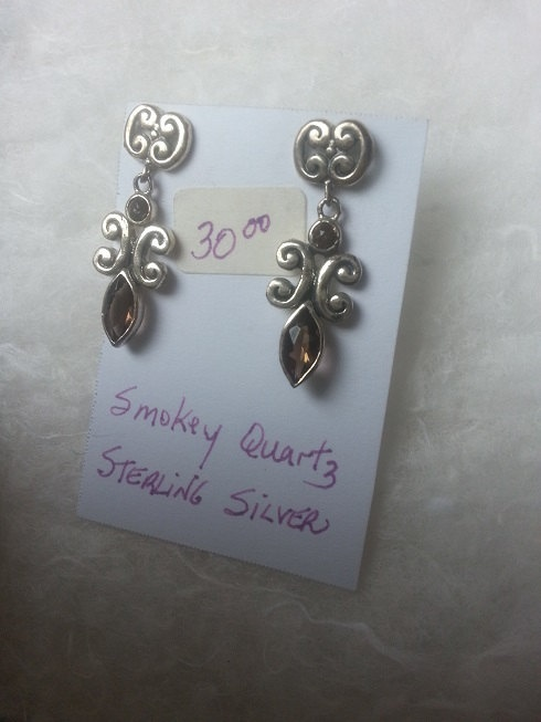 1 1/8 inch long Stud Dangle Genuine Smokey by WithLoveDivine, $30.00 jewellery jewelry fashion stones genuine stones crystal intricate art nouveau https://www.etsy.com/listing/153398317/1-18-inch-long-stud-dangle-genuine