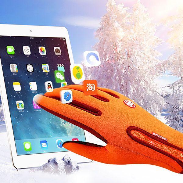 Mens Women Warm Waterproof Touch Screen Fleece Cycling Gloves Full Finger Outdoor Ski Gloves