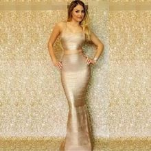 Top Qualität HL 2 Stücke Set Gold Folierung Rayon Trompete Bandage Kleid Cocktail Party Edle Kleid //Price: $US $72.00 & FREE Shipping //     #clknetwork