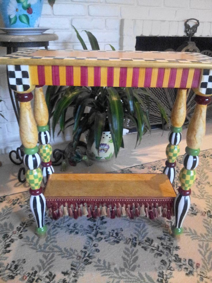 Mackenzie Childs Inspired Courtly Check Accent Table   Hand Painted  Decorative Table Courtly Check   Accent Furniture By Krystasinthepointe On  Etsy
