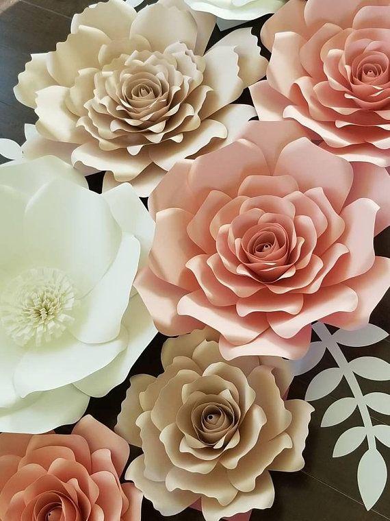 Large 3d Paper Flower Set Giant Paper Flowers Nursery Decor