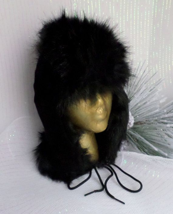 Black Suede Trapper Style Hat With Black Faux Imitation Fur Trim Lined Earflaps, Low Loft Insulation, Fleece Fabric Lined, Extreme Cold Gear, Hat earflaps lined, winter acc...