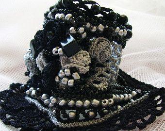 Crochet bracelet Crochet cuff Blue crochet by KSZCrochetTreasures