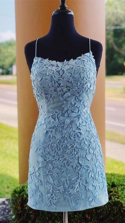 Gorgeous Blue Lace Short Homecoming Dress