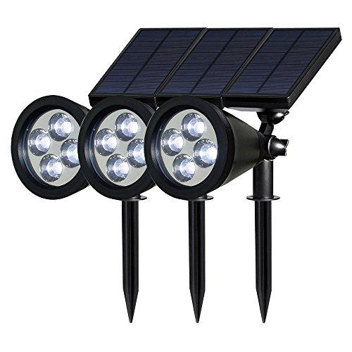 SG-YY-506 Weatherproof Solar Spotlight 4LED Solar Lawn Light New Solar Plug Lights Outdoor Wall Garden Lights (3PCS,White Light)